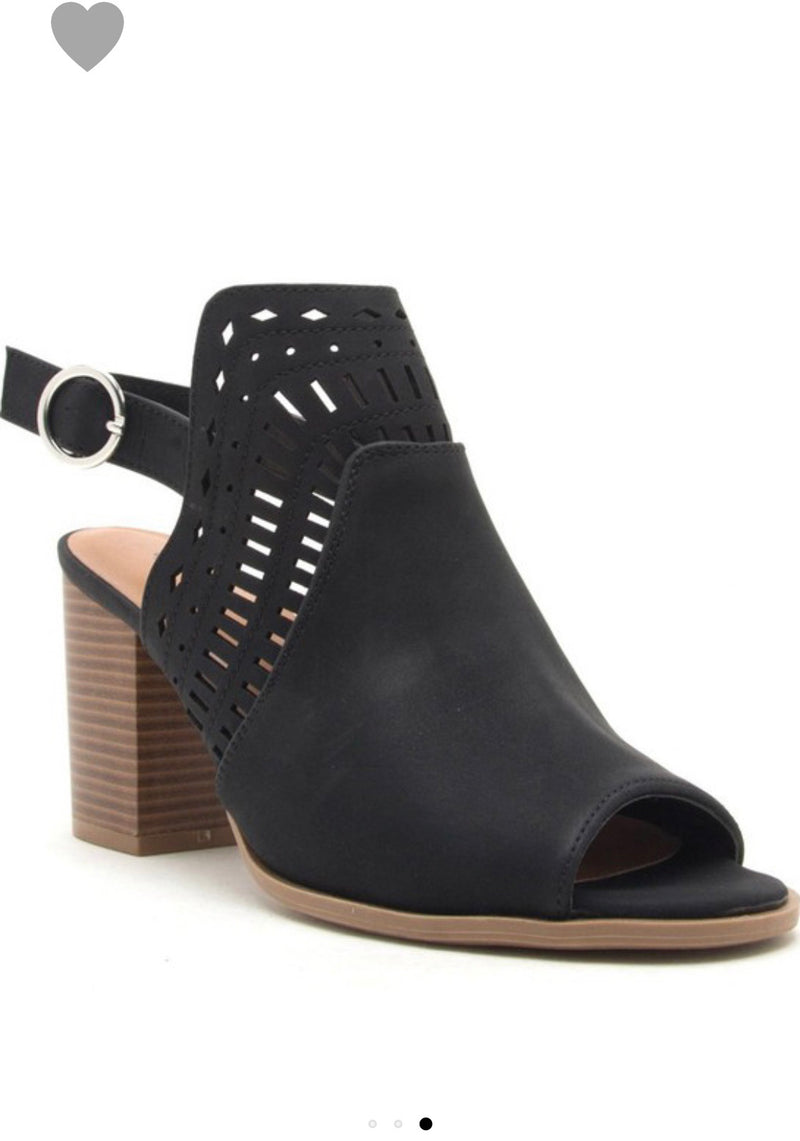 Black Textured Buckle Heel