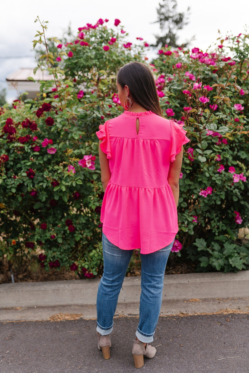 Hot Pink Tiered Ruffle Top