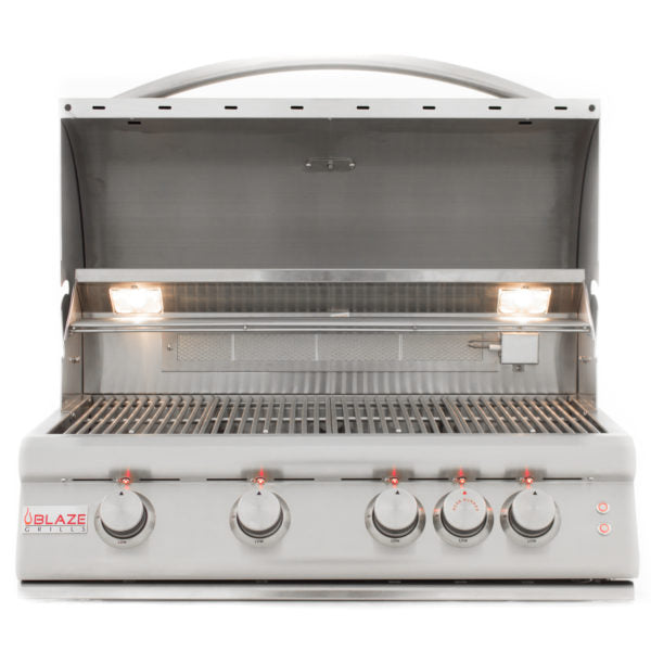 Blaze 32 Inch 4-Burner LTE Natural Gas Grill With Rear Burner and Built-in  Lighting BLZ-4LTE-NG