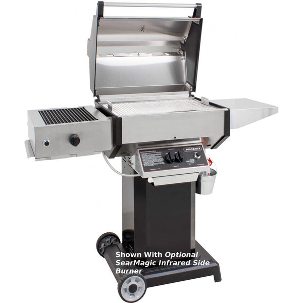 Phoenix stainless steel propane gas grill on black