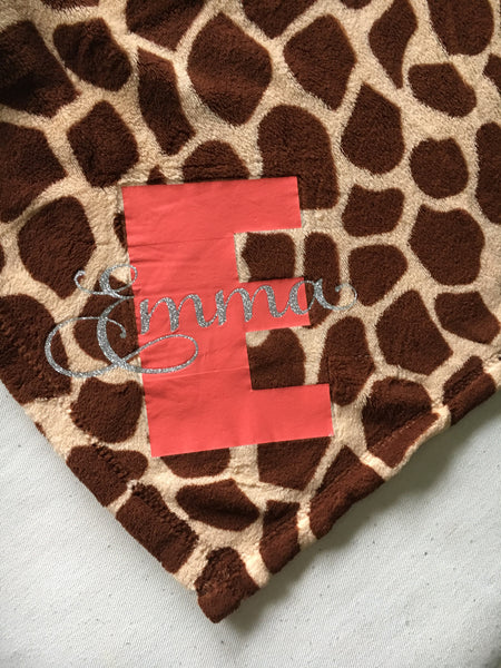 Custom monogrammed plush blanket