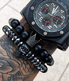 """Marcieno"" all black Crown Bracelet"