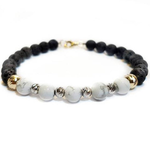 Black & White 14K Real Gold Bracelet
