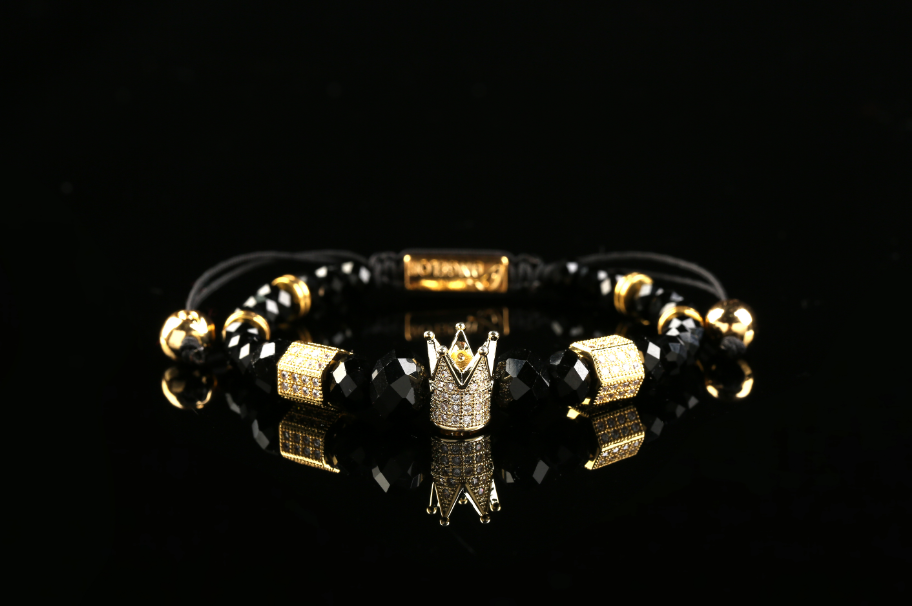 """Knight"" Gold Plated Crown Bracelet"