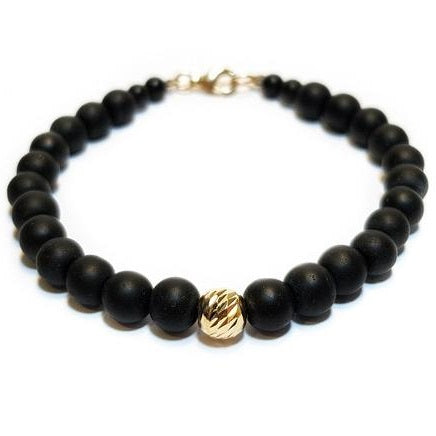 Solitaire 14K Solid Gold Beaded Bracelet