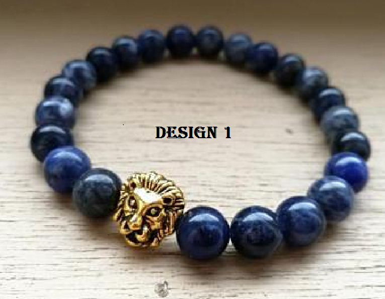Gold Plated Lion Bracelet with Blue Beads