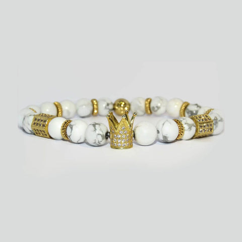 gold crown white bracelet