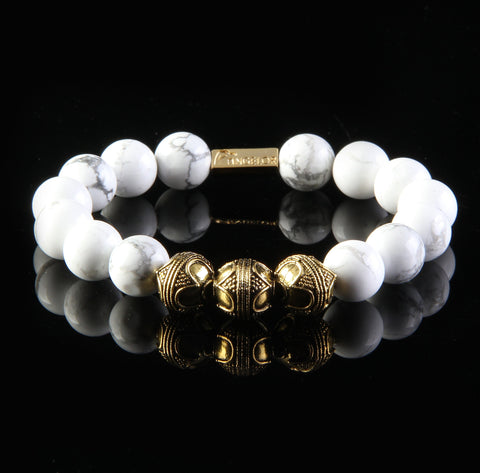 """Humble"" Premium White & Gold Beaded Bracelet"
