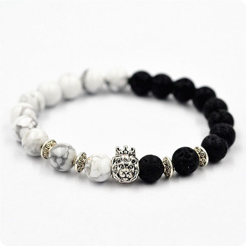 Charlie Black & White lion bracelet