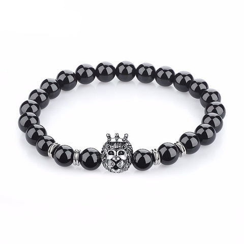 Leo Angelor Black beads Silver lion bracelet