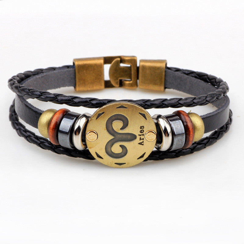 Aries genuine leather unisex bracelet 1