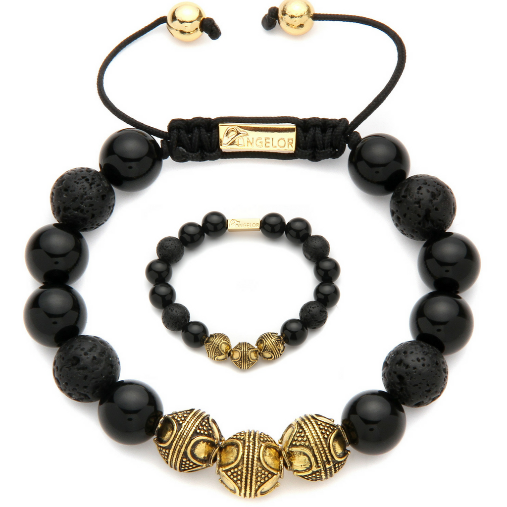 Black & Gold Game Nature Stone Beaded Bracelet