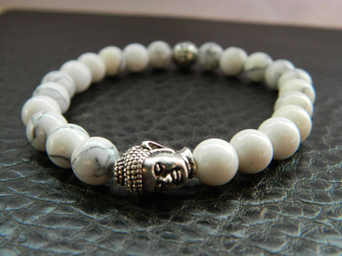 """Peace"" Silver Buddha White Beaded Bracelet"