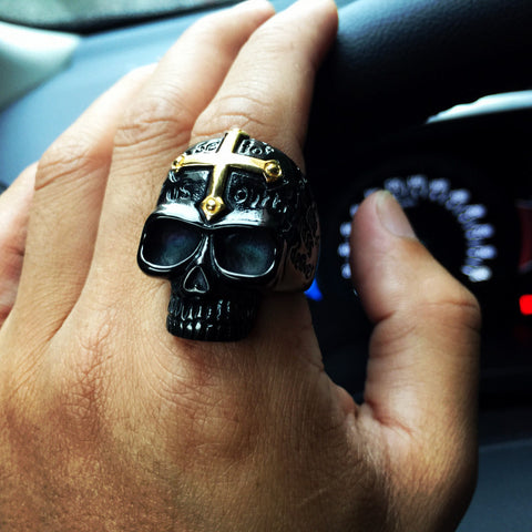 Bold Cross Black Skull Ring