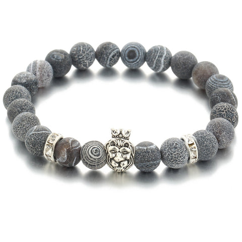 Darian ANGELOR LION crown bead bracelet grey