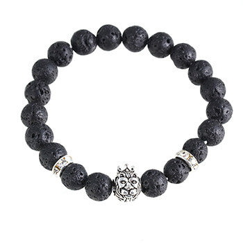 Darian ANGELOR LION crown bead bracelet black