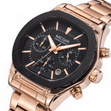 Flash Chronograph Luminous Quartz Watch gold & black