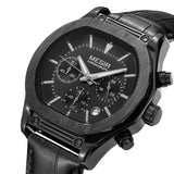 Flash Chronograph Luminous Quartz Watch leather black