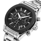 Flash Chronograph Luminous Quartz Watch silver & black