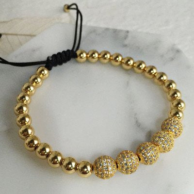 Classic gold plated beads bracelet