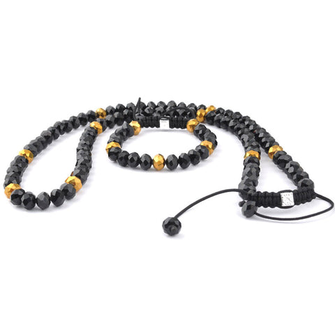 Dense Gold Crystal Beads Necklace sets black & gold