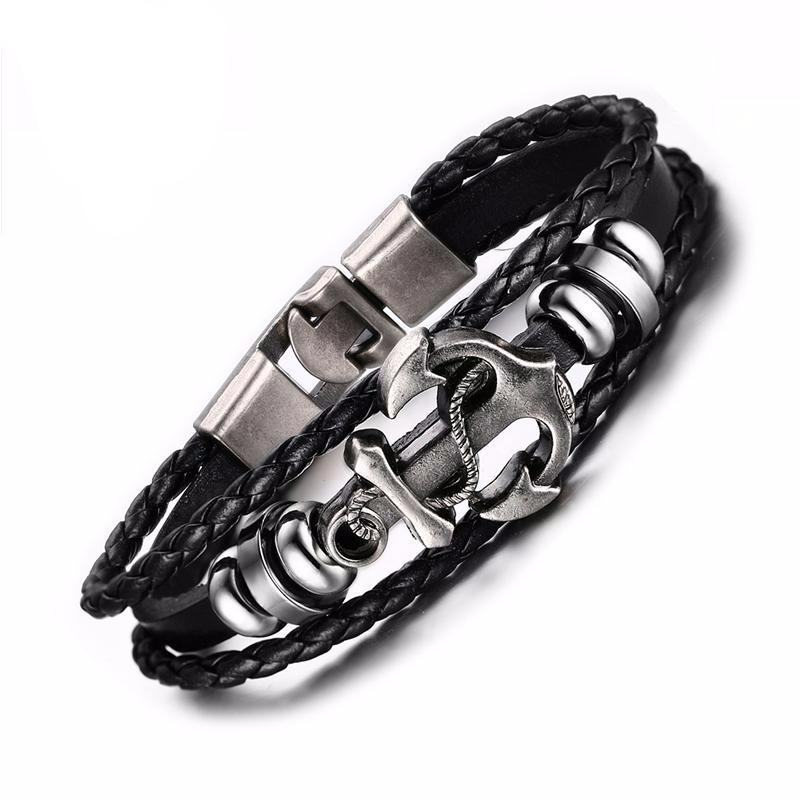 Vintage Anchor Black Leather Bracelet