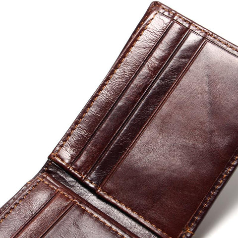 Genuine Leather Bifold Small Wallet