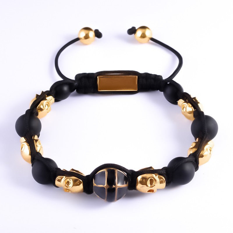 Golden Skull Stone Black Ball Beaded Bracelet