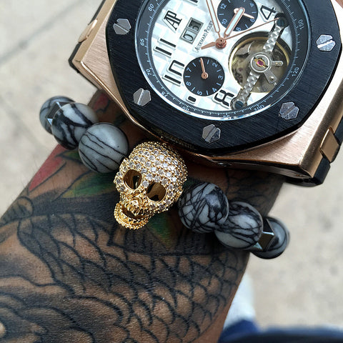 Skull Skeleton Grey Picasso Beads Bracelet