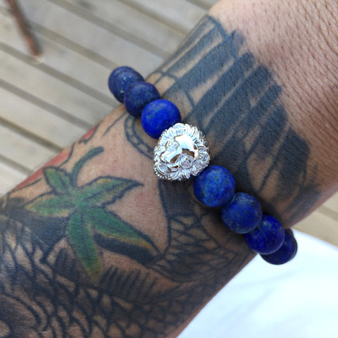 Natural Blue Stone Titanium Steel Bracelet