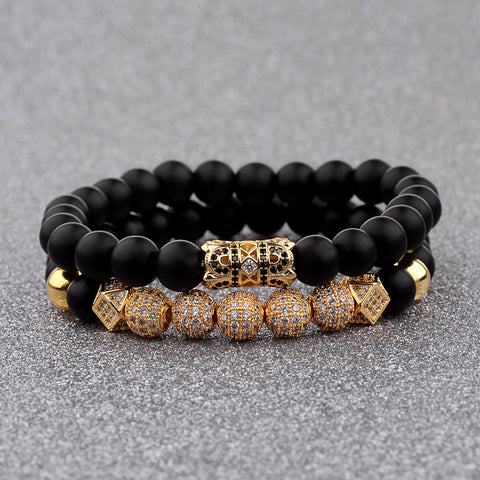 8MM Luxury Men Bracelet with Pave CZ Charms