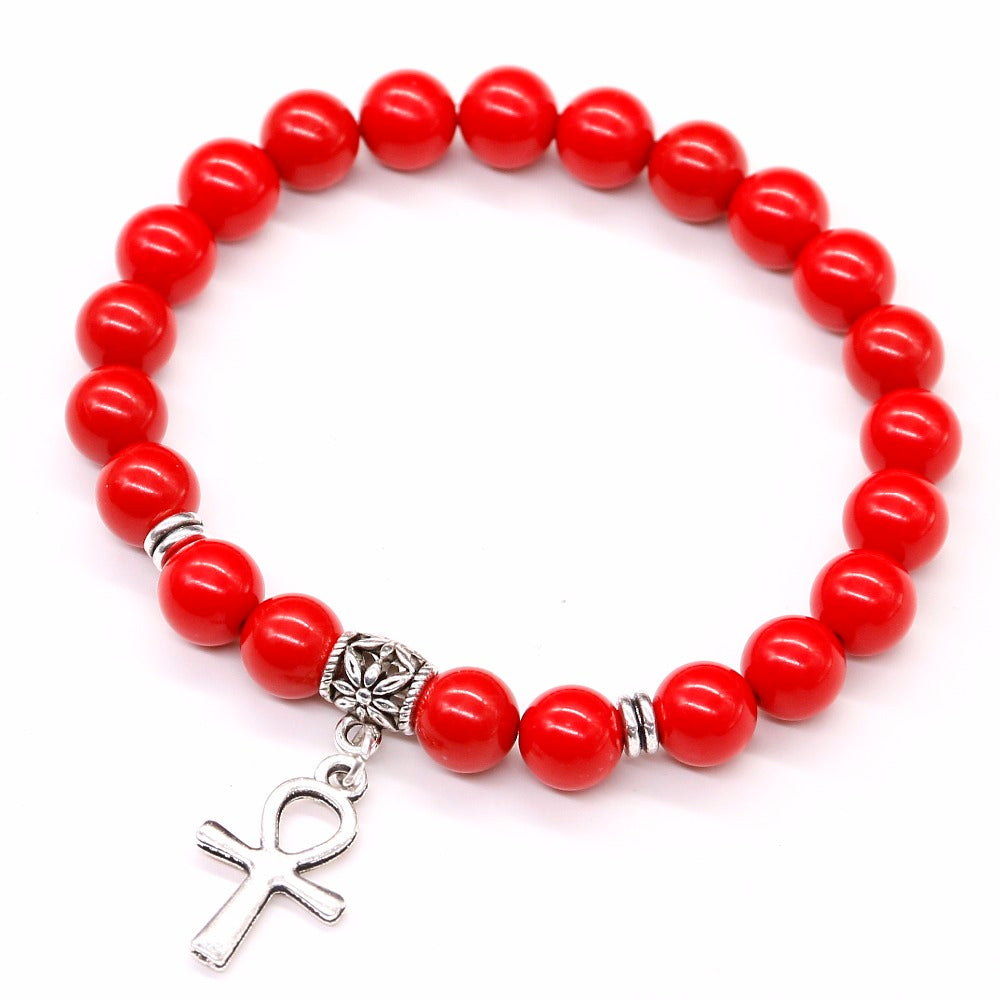 Red cinnabar Stone Beads Bracelet