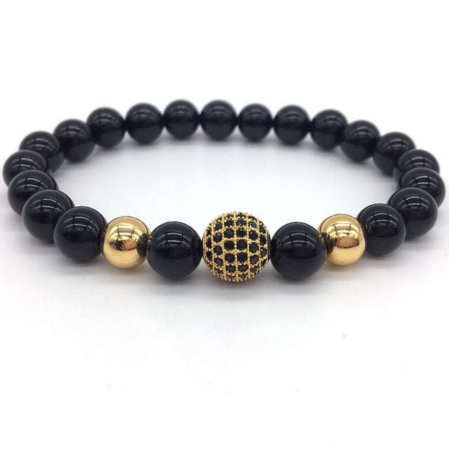 Stone Beads and Black CZ Ball Bracelet
