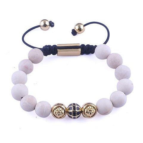 White Stone Beaded Yellow Gold Plated Zinc Alloy Beads Bracelet