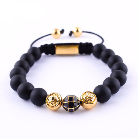 Alex Jet Nature Stone Beaded Bracelet black & gold