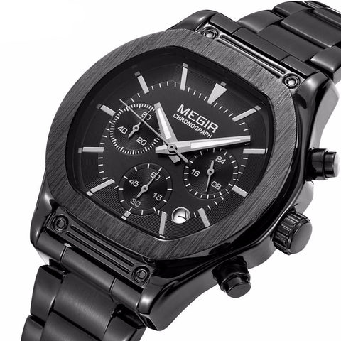 Flash Chronograph Luminous Quartz Watch black