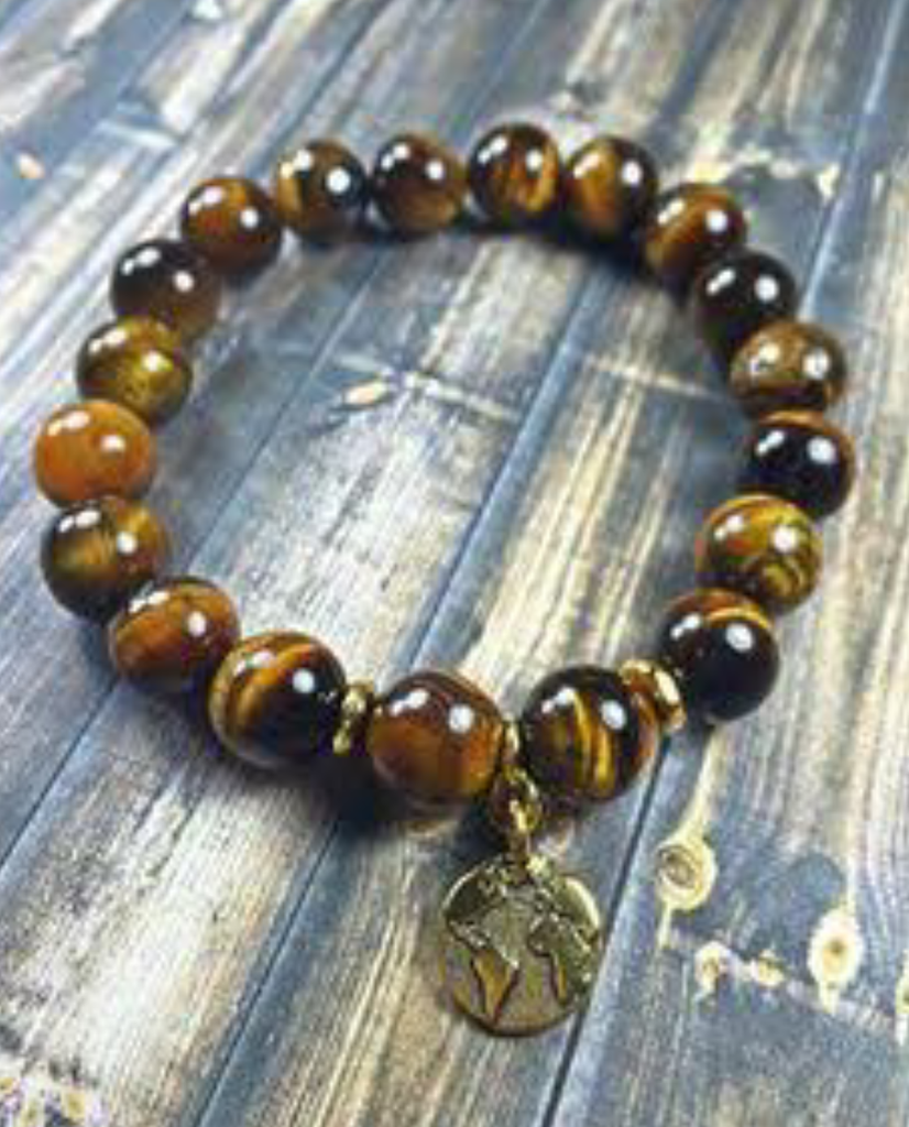 """Earth"" Tiger Eye Round Charm Bracelet"