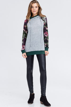 Aimee:  Floral Sleeve Double Hooded Sweater by White Birch