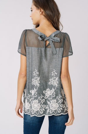 Lyndsey:  Embroidered Sheer Accent Short Sleeve Top