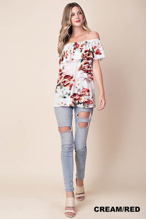 Briana: Off Shoulder Floral Print Top