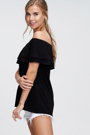 Tracey: Black Off the Shoulder Top by White Birch