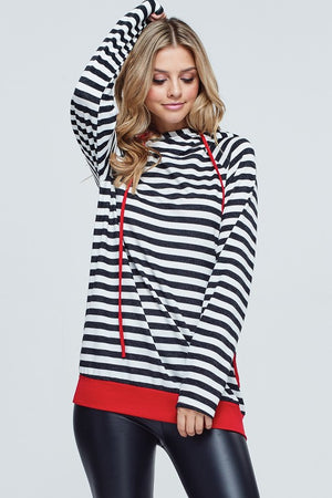 Heather: Black and Red Color Block Double Hoodie by White Birch