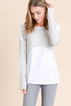 April:  Long Sleeve Grey and White Cross Back Top by Doe and Rae