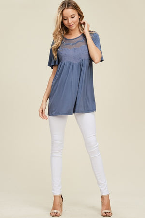 Michelle: Embroidered Mesh Accent Short Sleeve Top