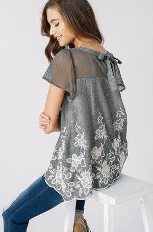 Kathy:  Embroidered Sheer Accent Short Sleeve Top