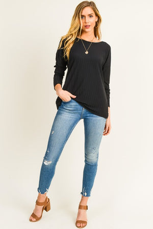 Kiera: Black Back Detailed Long Sleeve Top by Doe and Rae