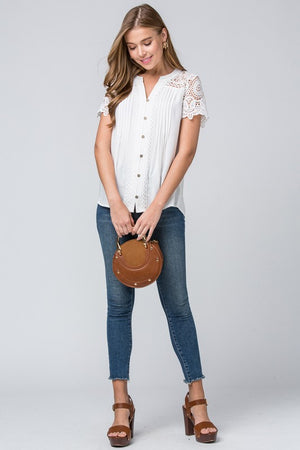 Lauryn:  Button Up Detailed Top (White) by Entro