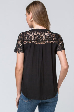 Lauryn:  Button Up Detailed Top (Black) by Entro