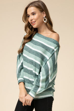 Audra:  Olive and White Striped Off the Should Sweater Top by Entro