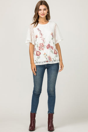 Jessica:  Embroidered Lace Overlay Short Sleeve Top by Entro